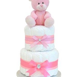 First Teddy Bear Girls Two Tier Nappy Cake for Newborn-s Baby Shower Pink Hampers Gifts New Parents Born Girl Diaper-s Hamper Cakes Babies Gift Handmade Decoration-s Pregnant Present-s Basket-s Set-s 31K8Lzq2vML