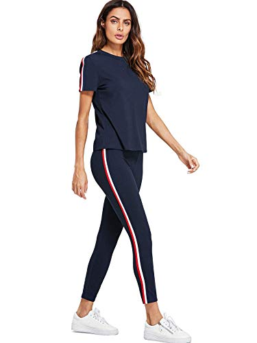 Shocknshop Blue Striped Red White Side Short Sleeve Top & Pant Leggings Tracksuit Set for Womens (LEG92)
