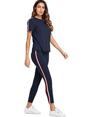 Shocknshop Blue Striped Red White Side Short Sleeve Top & Pant Leggings Tracksuit Set for Womens (LEG92)