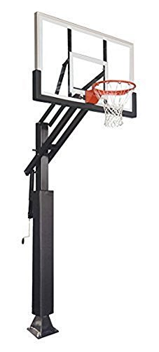 First Team Game Changer in-Ground Adjustable Basketball Goal Hoop with 60' Glass Backboard System for Outdoor Basketball Courts with Post & Backboard Pad