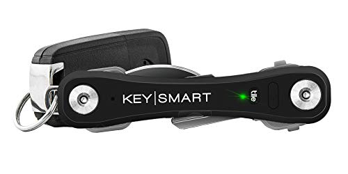 KeySmart Pro - Compact Key Holder w LED Light & Tile Smart Technology, Track Your Lost Keys & Phone w Bluetooth (up to 10 Keys, Black)