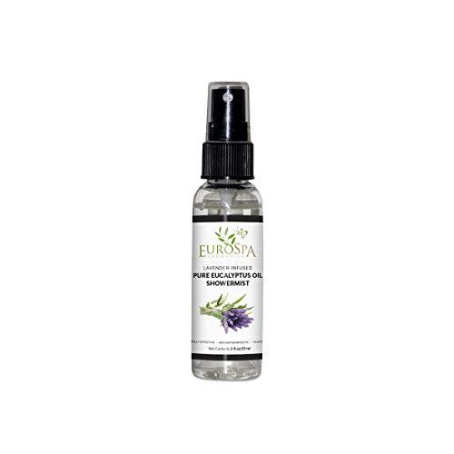 EuroSpa Aromatics Pure Eucalyptus Oil ShowerMist and Steam Room Spray, All-Natural Premium Aromatherapy Essential Oils - Lavender Infused, 2oz
