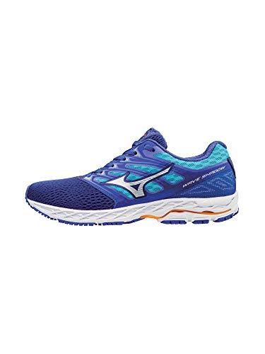Mizuno Running Women's Wave Shadow Shoes, dazzling blue/white, 11 B US