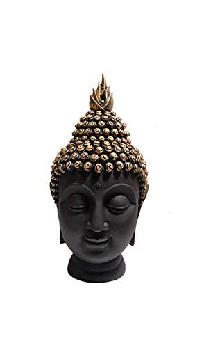 Om Arts Polyresin Buddha Head Figurine (10.5 Cm X 7 Cm X 13 Cm)- Black & Gold 49