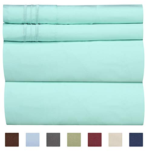 Full Size Sheet Set - 4 Piece - Hotel Luxury Bed Sheets - Extra Soft - Deep Pockets - Easy Fit - Breathable & Cooling Sheets - Wrinkle Free - Comfy - Spa Blue Bed Sheets - Fulls Sheets - 4 PC