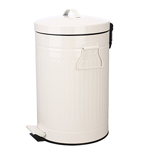 Bathroom Trash Can with Lid, White Bathroom Bedroom Wastebasket Soft Close, Small Retro Vintage Home Garbage Can, Steel Garbage Cans for Office, Foot Pedal Step, Chrome, 12 L / 3 Gallon, Glossy White