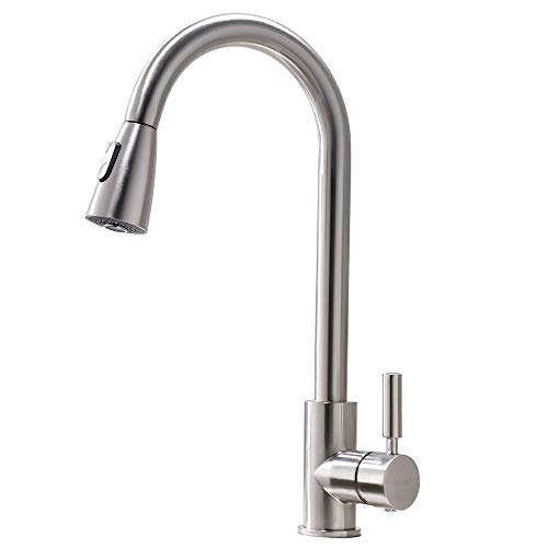 VAPSINT Modern Stainless Steel Single Handle Single Hole Brushed Nickel Pull Out Spray Kitchen Faucet, Pull Down Kitchen Sink Faucet