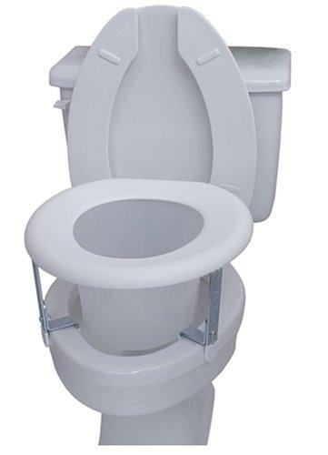 Duro-Med Universal White Plastic Raised Toilet Seat, Four Adjustable Brackets, Comfortable Seat, Plastic Splash Guard, White