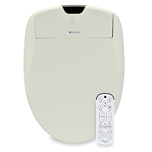 Brondell Swash 1400 Luxury Bidet Toilet Seat in Elongated White with Dual Stainless-Steel Nozzles and Nanotechnology Nozzle Sterilization  Endless Warm Water   Warm Air Dryer   Nightlight