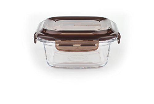 Komax LOOK square sealable glass food storage container 440 ml (15 fl.oz.)