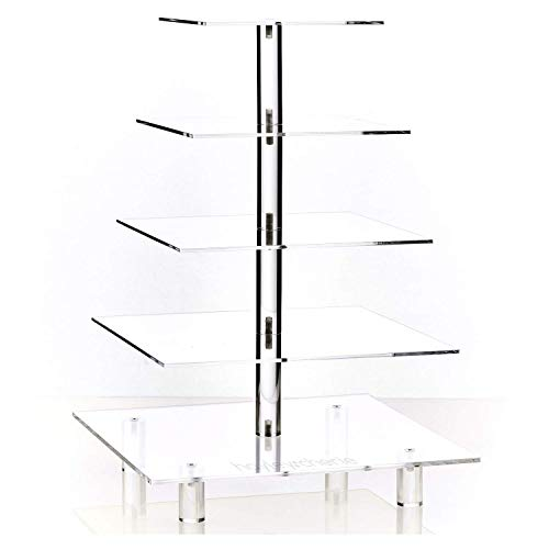 Hayley Cherie 5-Tier Square Cupcake Stand - Acrylic Tiered Cake Stand - Dessert or Cupcake Tower