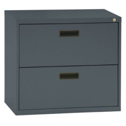 Sandusky 400 Series Charcoal Steel Lateral File Cabinet with Plastic Handle, 30″ Width x 27-1/4″ Height x 18″ Depth, 2 Drawers