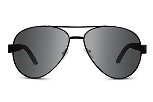TREEHUT Wooden Bamboo Sunglasses Temples Classic Aviator Retro Metal ...