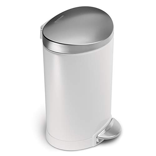 simplehuman 6 Liter / 1.6 Gallon Stainless Steel Compact Semi-Round Bathroom Step Trash Can, White Steel With Stainless Steel Lid