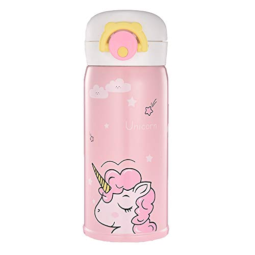 Unicorn Stainless Steel Thermos for Girls, Cute Water Bottle Cup for Indoor and Outdoor Occasion, Insulated Leak Proof Vacuum Cup Flask for Kids(350ML Pink)
