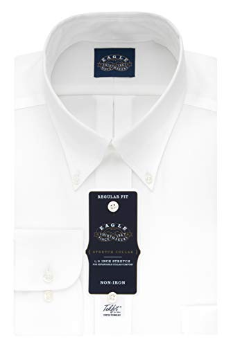 Van Heusen Men's Flex Collar Regular Fit Solid Spread Collar Dress Shirt, White, 17.5' Neck 34'-35' Sleeve