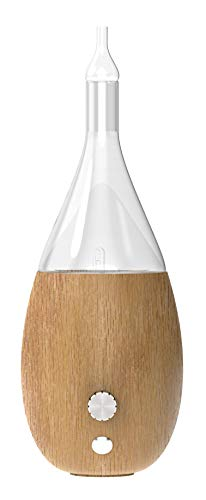 Two Scents Raindrop Nebulizing Diffuser - Waterless diffuser For Essential Oils and Aromatherapy | Wood Base, Glass Top And Touch | Fills Even Big Rooms In Minutes With Organic Aromas (Light Wood)
