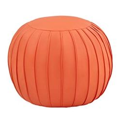 Comfortland 25 Inches Faux Leather Ottoman Bench with Storage, Folding Toy Box Chest Footrest, Round Foot Stool Seat, Small Floor Pouf for Living Room, Bedroom, Kids Room(Unstuffed) Orange Red