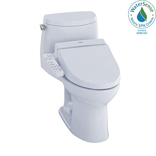 TOTO MW6042044CEFG#01 WASHLET+ UltraMax II One-Piece Elongated 1.28 GPF Toilet and WASHLET C200 Bidet Seat, Cotton White