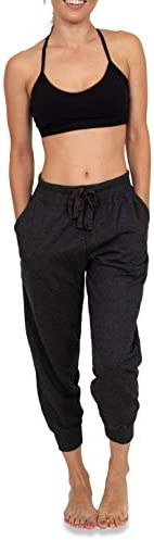 Sexy Basics Women's 2 Pack Soft French Terry Fleece Casual/Active Comfy Capri Jogger Lounge & Sweatpants 2