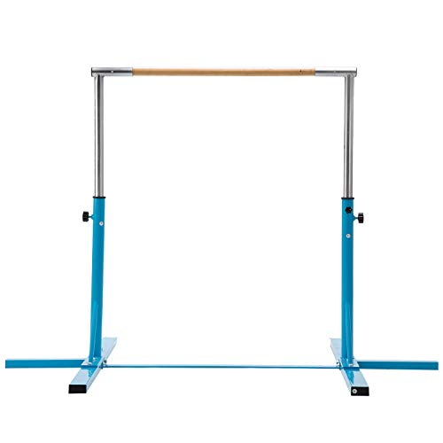 Usexport Blue Adjustable 3' to 5' Horizontal Bar Gymnastics Expandable Junior Training Bar