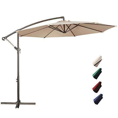 RUBEDER Offset Umbrella - 10Ft Cantilever Patio Hanging Umbrella,Outdoor Market Umbrellas with Crank Lift & Cross Base (10 Ft, Beige)