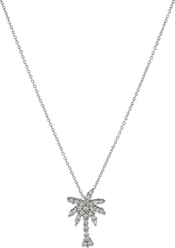 31P2QqmQlnL Pendant necklace in 18k white gold with palm tree charm featuring pave-set round diamonds and hidden synthetic ruby Cable chain with lobster-claw clasp Made in Italy