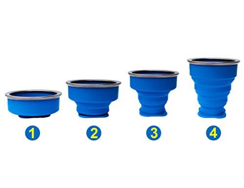 2 pcs Tazas de Silicona Plegable, Copa de viaje plegable, 230 ml Grado de comida Copa plegable de Taza de café Portable del viaje Para senderismo Cámping Deportes al aire libre Tapa caliente incluida 1