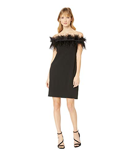71Suh3%2BMBpL Vince Camuto Size Guide   Take your look to the next level with this fashion-forward Vince Camuto® Sleeveless Feather Trimmed Off-Shoulder Dress.