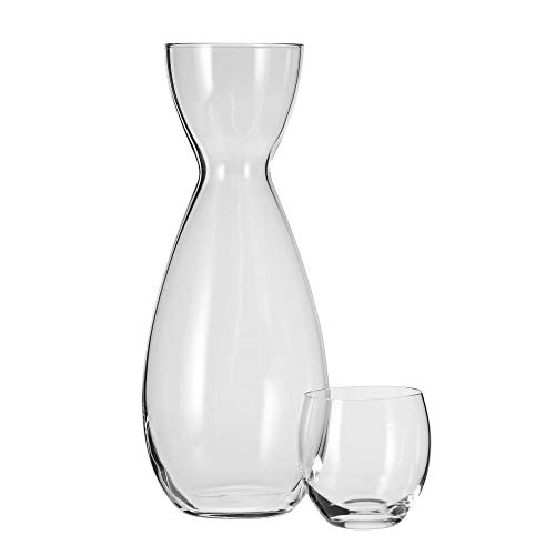 Household Essentials KROSNO Handmade Quench Bedside Water Carafe Set, 16 oz, Clear