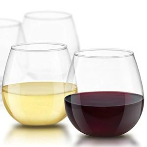 JoyJolt Spirits Stemless Wine Glasses for Red or White Wine (Set of 4)-15-Ounces 15