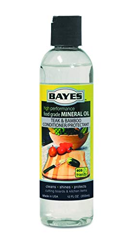 Bayes High-Performance Mineral Oil Wood & Bamboo Conditioner and Protectant - Cleans, Conditions and Protects Wood, Bamboo, Teak Cutting Boards, Utensils, and Accessories - 12 oz