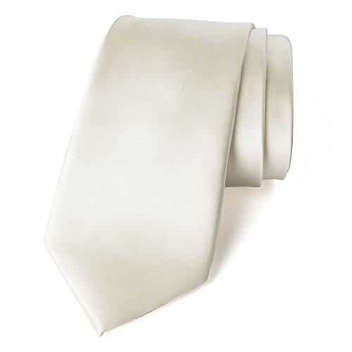 Spring Notion Men's Solid Color Satin Microfiber Tie, Regular Ivory