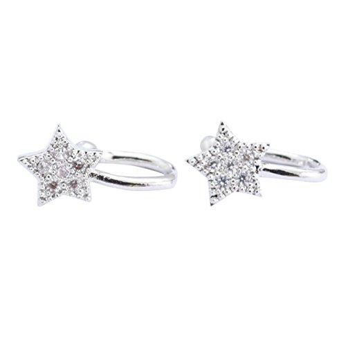 Fenical Ear Clip Star Elegant Diamonds Pendientes Sparkling Hoop Earrings 1 Par (Plata)