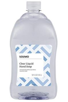 Amazon Brand – Solimo Gentle & Mild Clear Liquid Hand Soap Refill, Triclosan-free, 56 Fluid Ounces, Pack of 1