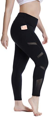 YOHOYOHA Women's Yoga Pants Plus Size Breathable Mesh Splice Tummy Control Best Long Workout Fitness Pants for 4 Way Stretch 1