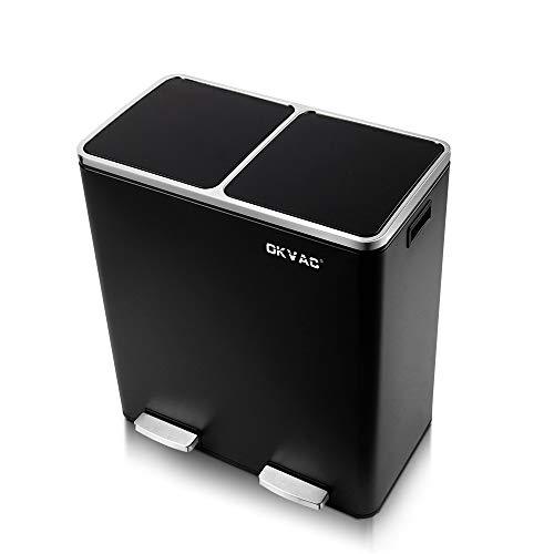 OKVAC Dual Trash Can, Double Recycle Pedal Bin for Kitchen, 2 x 30L Garbage Bin with Plastic Inner Buckets and Carry Handles, Soft & Silent Lid Close, Fingerprint Proof Stainless Steel