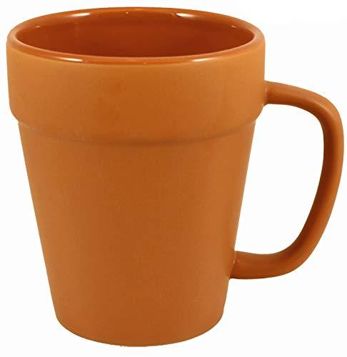 Terra Cotta Ceramic Coffee Pot Mugs with Pan Scraper (2-Pack, 14 Ounce)