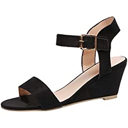 Gyouanime Women Mid Heel Sandals Office Sandals Slippers Buckle Strap Roman Shoes Sandals Outdoor Workout Sandals Shoes Black