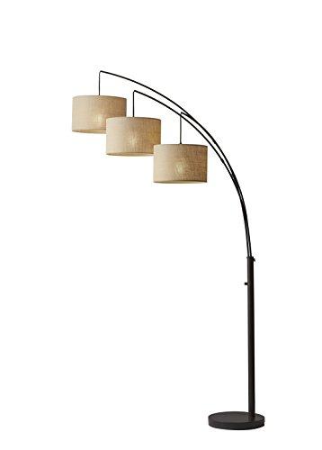 Adesso 4238 26 Trinity Arc Floor Lamp Antique Bronze Finish Beige Burlap Lamp Home Decor Lamps