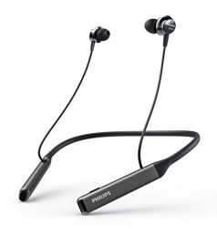 Philips Performance TAPN505BK Bluetooth 5.0 Active Noise Cancelling in-Ear Neckband with Google Assistant, Hi-Res Audio, Quick Charge and Built-in Mic with Echo Cancellation (Black)