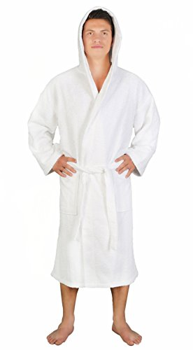 Arus Men's Classic Hooded Bathrobe Turkish Cotton Terry Cloth Robe (S/M,White)