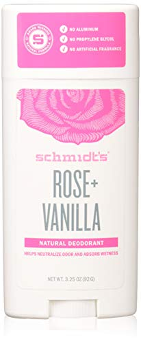 Schmidt's Natural Deodorant - Rose and Vanilla, 3.25 ounces. Stick for Women and Men