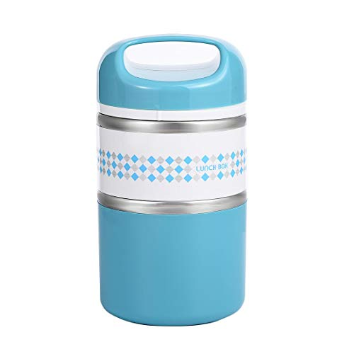 2 Layers Stainless Steel Lunch Containers with Handle, Insulated Lunch Box Stay Hot 3-4h, Leak-proof Food Containers for Adults, Teens, Work, School - 42 oz, Blue