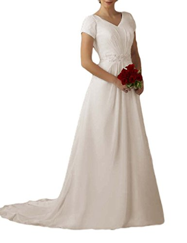 31S6UB4leKL Features: Sweep Train Short Sleeve V-Neck Ball gown Bridal Dress with Beading, A-line Long Modest wedding gown with zipper back Fabric: Chiffon & Beads. Vintage Classic Style Made to order dress available in Ivory and White Color
