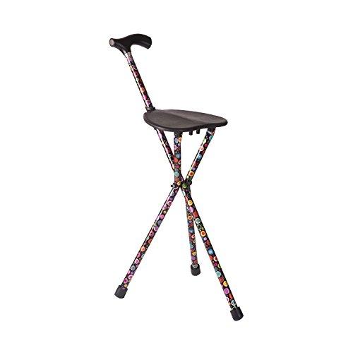 Switch Sticks Walking Stick with Seat, 2-in-1 Folding Walking Stick Seat, Bubbles