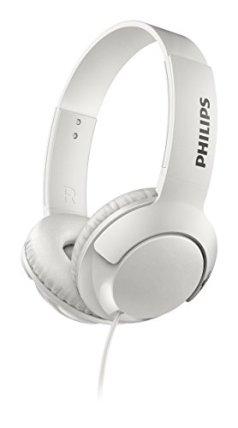 Philips Bass+ SHL3070 On-Ear Closed-Back Headphones (White)