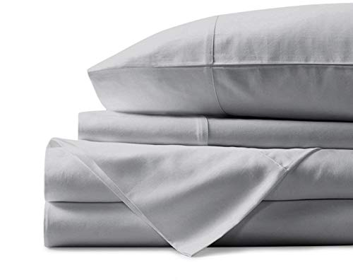 Mayfair Linen 100% Egyptian Cotton Sheets, Silver Queen Sheets Set, 800 Thread Count Long Staple Cotton, Sateen Weave for Soft and Silky Feel, Fits Mattress Upto 18'' DEEP Pocket