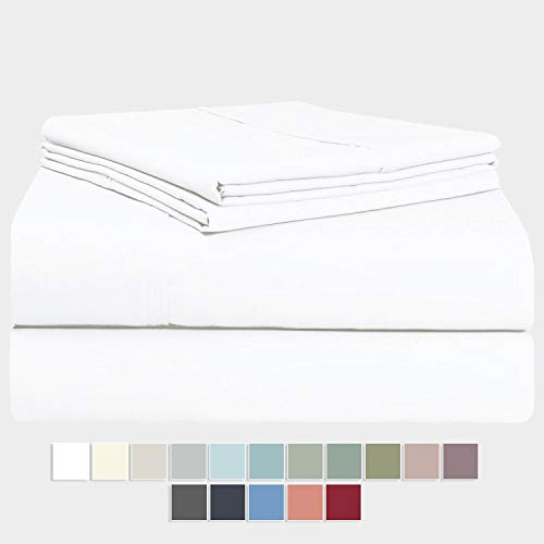 "Pizuna 400 Thread Count Cotton Full Size Sheets Set, 100% Long Staple Cotton Sheets Set, Soft Cotton Sateen Bed Sheets with Deep Pocket fit Upto 17"" (White Full 100% Cotton Sheet Sets)"