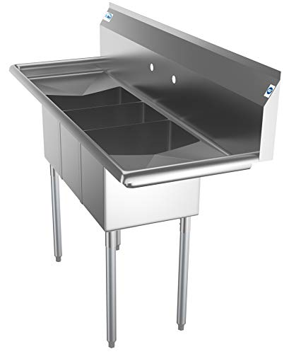 KoolMore-SC101410-12B3-3-Compartment-Stainless-Steel-NSF-Commercial-Kitchen-Sink-with-Right-and-Left-Drainboards-Bowl-Size-10-x-14-x-10-Silver